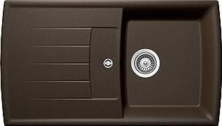 SCHOCK hochwertige Küchenspüle aus Quarzkomposit 88 x 50 cm Lotus D-100 Bronze - CRISTADUR braune Spüle mit Abtropffläche ab 50 cm Unterschrank-Breite