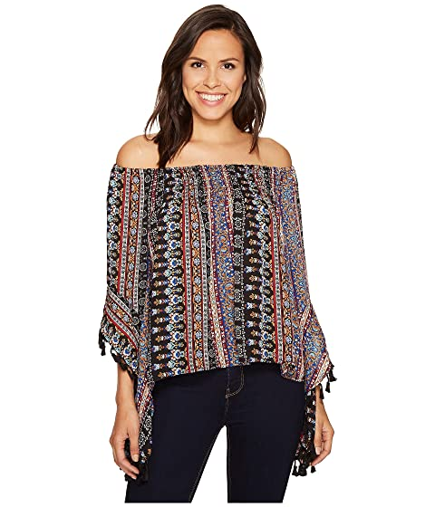 ROMEO & JULIET COUTURE Printed Top With Tassels, Black