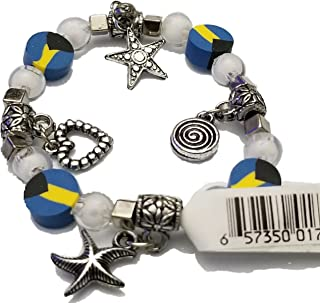 BUNFIREs Women Bahamas Bahamian Flag Beads Lucky Charm Bangle Hand Chain Pendant Diamond Ball Star Heart Bracelets