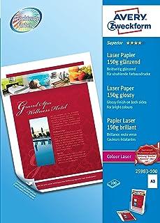 Avery Instant Dry Technology- Carta Fotografica Lucida per Stampanti InkjetBianco, 420 x 297, 100 Pezzi