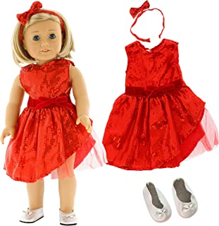 Red Sparkle Christmas Dress Doll Outfit (3 Piece Set) - Holiday Clothes for American Girl & 18