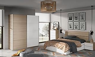 b569dc5cfbd Miroytengo Lote de mobiliario Completo para Dormitorio Matrimonio 150 cm  Color Blanco y Nature con somier