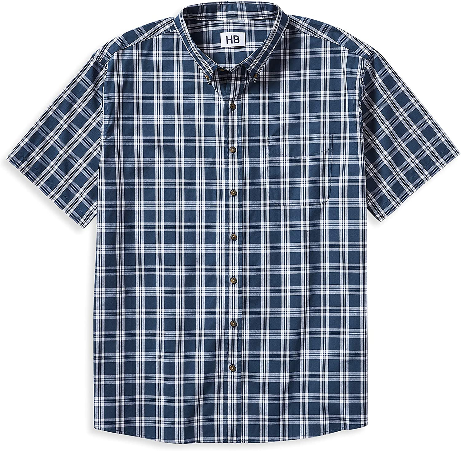 Harbor Bay by DXL Big and Tall Easy-Care Plaid Sport Shirt, Blue