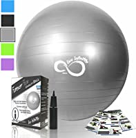 Exercise Ball (55cm-85cm) Extra Thick Professional Grade Balance & Stability Ball- Anti Burst Tested Supports 2200Lbs-...