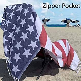 Luxury Turkish Beach Towel with Zipper Pocket 100% Natural Cotton - Sand Free Lightweight Quick Dry | Hand Face Fouta GIFT | Multipurpose Poolside Sunbed Couch Throw PESHTEMAL SET (USA Flag, 1)