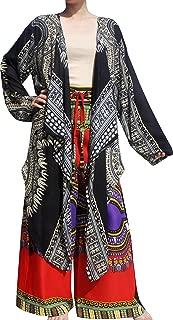 Full Funk Draped Bohemian Long Sleeve Fashion Shirt in Rayon Afrika Dashiki Art