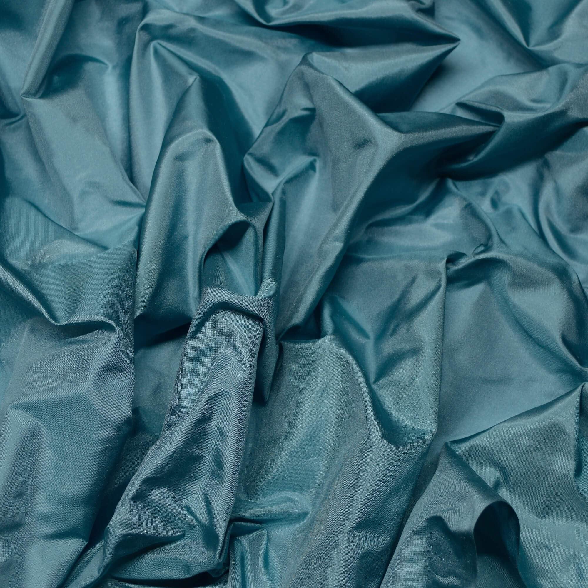 100/% Silk Taffeta Embroidery Fabric Teal /& Peach Iridescent 34 Yard Remnant