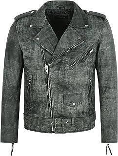 Men's BRANDO Jacket Real Leather Vintage Grey Buff Effect Fashion Biker Perfecto SR-MBF