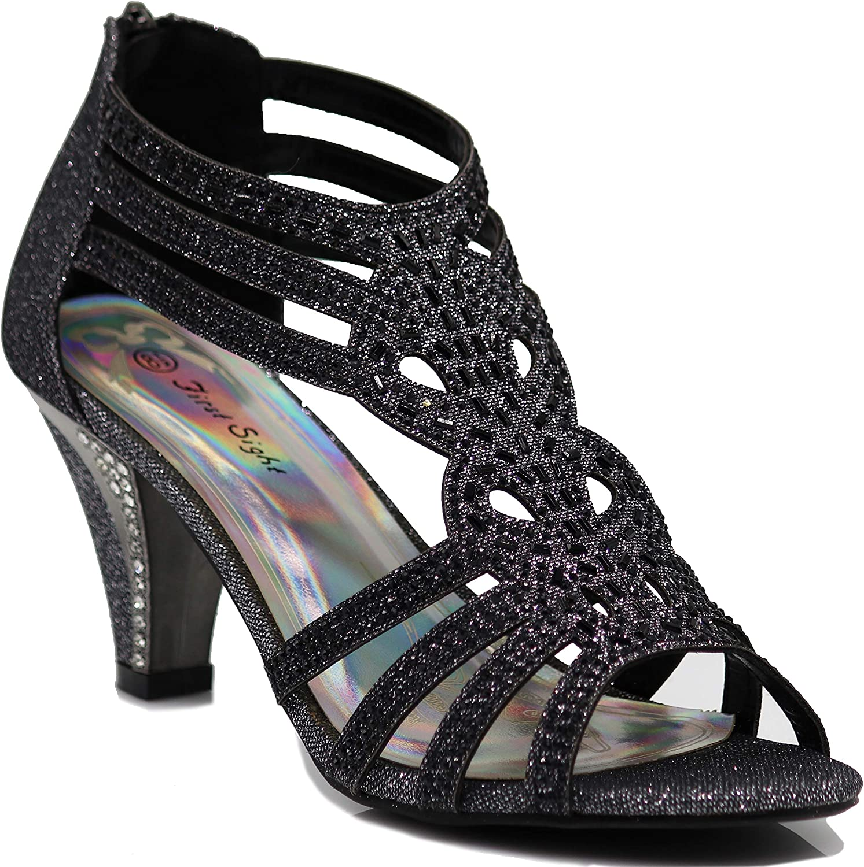 Enzo Romeo Kinmi25N Womens Open Toe Mid Heel Wedding Rhinestone Gladiator Sandal shoes
