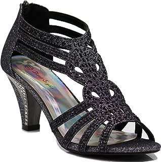 Kinmi25N Womens Open Toe Mid Heel Wedding Rhinestone Gladiator Sandal Shoes