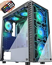 MUSETEX Phantom Black ATX Mid-Tower Case with USB 3.0 and 6 ×120mm ARGB Fans, Tempered Glass Panels Gaming PC Case Compute...