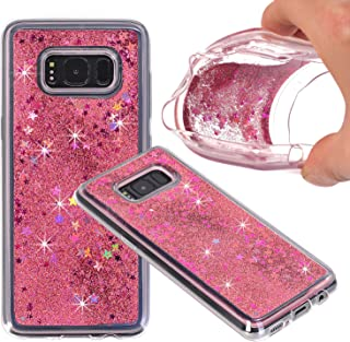 Galaxy S8 Plus Case, NOKEA Soft TPU Flowing Liquid Floating Luxury Bling Glitter Sparkle Case Cover Fashion Design for Samsung Galaxy S8 Plus (Rose Gold)