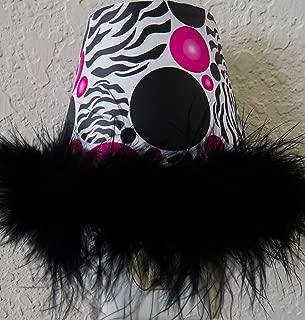 Zebra Print Dots Night Lights with Hot Pink and Black Polka Dots and a Black Boa At Bottom