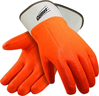 Galeton 7210 Comet Insulated PVC Coated Gloves, Safety Cuff, Large,Orange (Pack of 12)