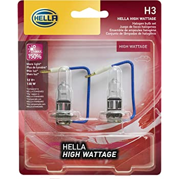 HELLA H3 130WTB Twin Blister High Wattage Bulbs, 12V, 2 Pack