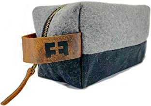 (Felted NightSky) - the DOPP KIT waxed cotton canvas and felted wool toiletry bag with leather handle (Felted NightSky)