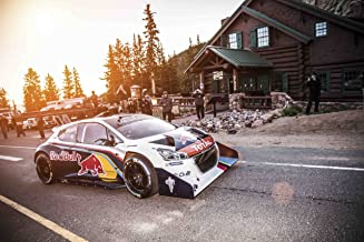 Peugeot 208 T16 Pikes Peak Race Day (2013) Car Art Poster Print on 10 mil Archival Satin Paper White Front Side Motion View 36