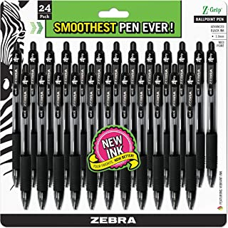 Zebra Pen Z-Grip Retractable Ballpoint Pen, Medium Point, 1.0mm, Black Ink, 24-Count (12221) (Renewed)