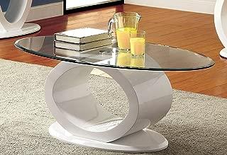 Furniture of America Modine Contemporary Glass Top Coffee Table, White