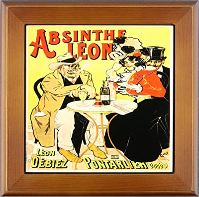 3dRose ft_149285_1 Vintage Absinthe Leon French Wine Advertising Poster Framed Tile, 8 by 8-Inch