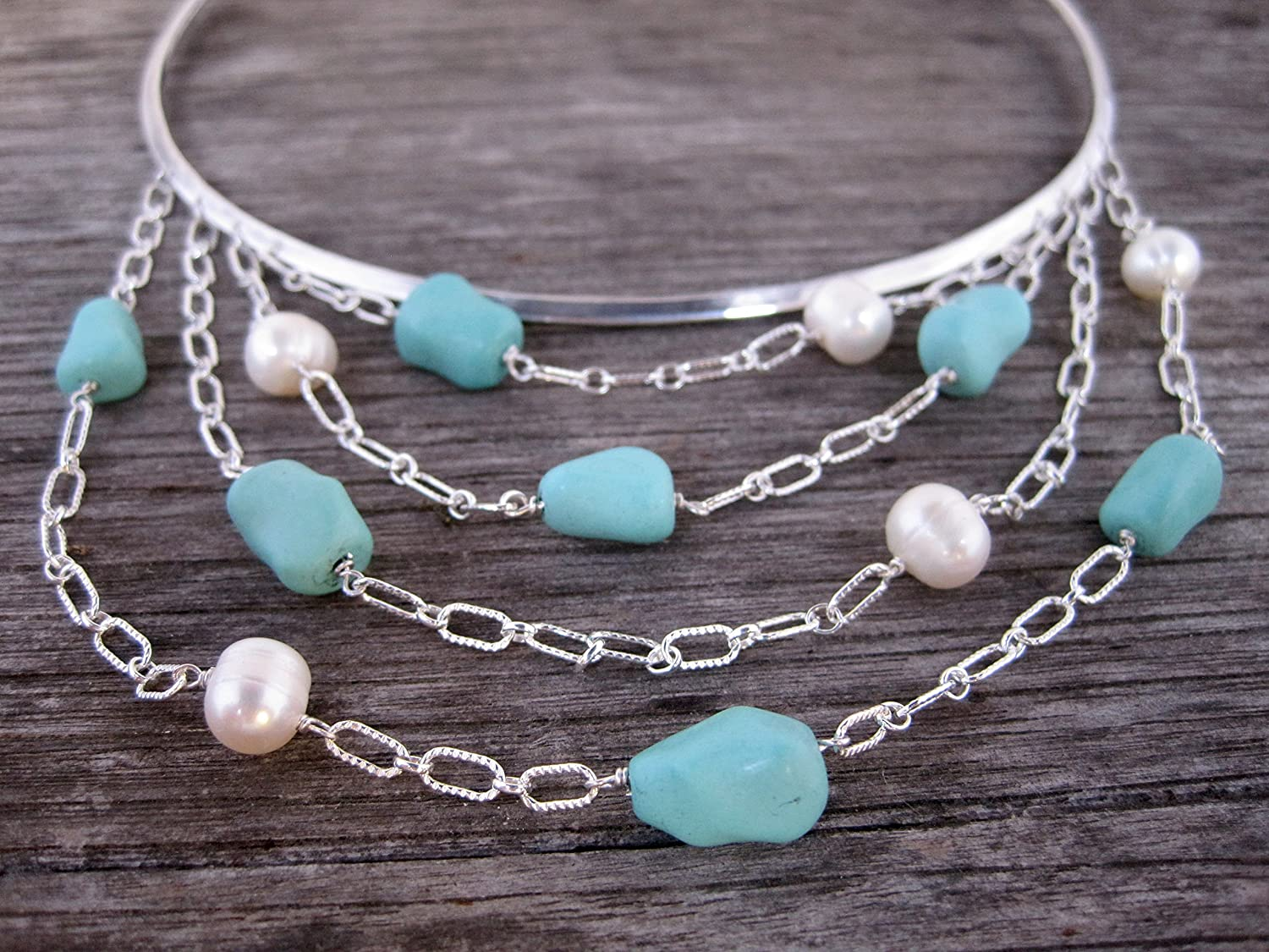 Sterling silver turquoise Max 83% OFF and statement necklace. pearl Recommendation