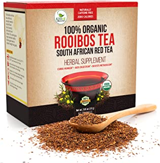 Organic Rooibos Tea Bags (80) - Caffeine Free South African Red Tea Detox - Herbal Antioxidant Drink from Africa - Aids Di...