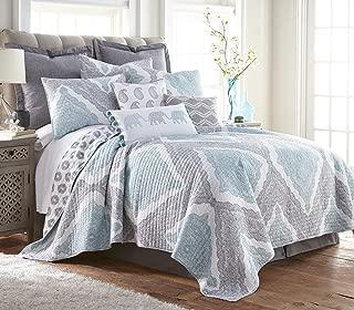 Levtex Montclair King Cotton Quilt Set, Grey, Spa, White, Paisley