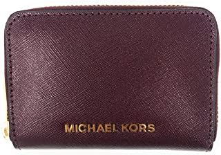 1abdd9f89c779d Michael Kors Jet Set Travel Card Case Zip Around Leather Wallet (Merlot)