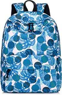 Leaves Backpack Girls Daypack Travel Bag Satchel Handbag Blue Leaves