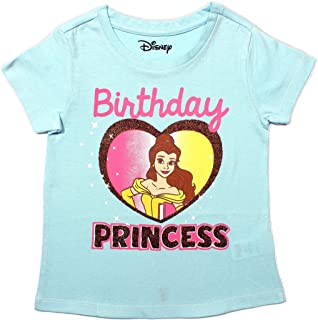Disney Princess Beauty and The Beast Girl's Birthday Blouse Tee Shirt, Scoop Neck