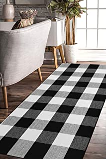 EARTHALL Cotton Buffalo Black and White Plaid Rugs, Hand-Woven Check Door Mat, Hallway runner, Washable Outdoor Rug Kitche...