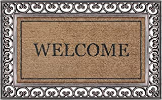"""A1 Home Collections LLC A1HCRB6557 Rubber Coir Heavy Doormat, 30"""" X 48"""", Bronze Welcome"""