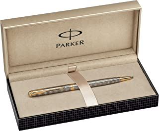 Parker S0808180 Sonnet Slim Ballpoint Pen, Chiselled Silver with Gold-Plated Trim, Medium Point - Black Ink