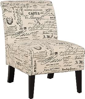 Linon Linen Script Lily, Dark Walnut Chair, 21.5