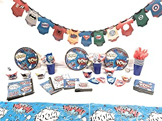 Superhero First Birthday Party Supplies for Boys, Baby Shower for 16 guests includes: Plates, Napkins, Cups, Plastic Cutlery, Tablecloth,Banner, Suckers, Cupcake wrappers and picks(188 pieces)