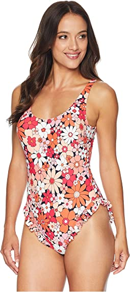 Cherry Summer Flower One-Piece w/ High Leg Ruffle & Removable Soft Cups