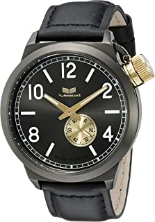 ساعة فيستل للرجال CTN3L14 كانتين جلد انالوج بعقارب شاشة كوارتز - اسود