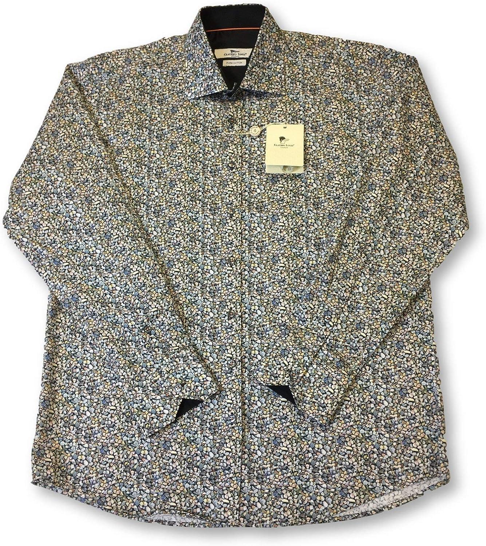 Claudio Lugli Shirt in Grey Pebble Print Design Size XL Cotton
