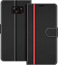 COODIO Funda Samsung Galaxy S7 con Tapa, Funda Movil Samsung S7, Funda Libro Galaxy S7 Carcasa Magnético Funda para Samsung Galaxy S7, Negro/Rojo