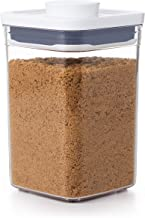 OXO Good Grips Pop 2.0 Small Square Canister, Short, 1 Litre Capacity, multicolor, 1.1 qt - square - brown sugar