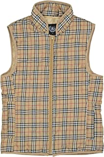 North 15 Women's Flannel Stand Collar Lightweight Quilted Plaid Gilet Zip Vest