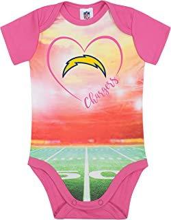 NFL Los Angeles Chargers Female Short sleeve Stadium Bodysuit, Pink, 0-3 Months