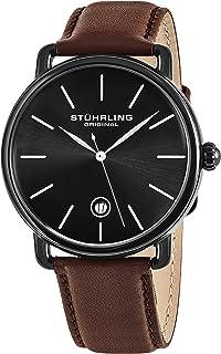 Stuhrling Original Ascot Mens Black Watch - Swiss Quartz Analog Date Wrist Watch for Men - Stainless Steel Mens Designer Watch 768