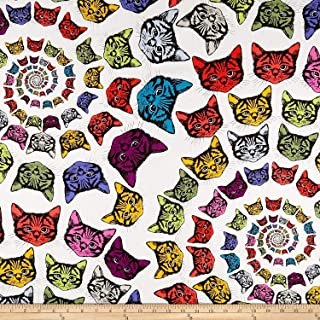Alexander Henry Finity Spiral Cats Natural/Multi Fabric by The Yard