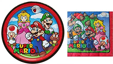 Bundle of Fun Super Mario Bros Cartoon Party Supply Kit - Plates and Napkins