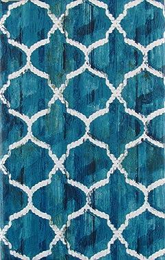 "Elrene Nautical Rope Trellis on the Ocean Vinyl Flannel Back Tablecloth (52"" x 70"" Oblong)"