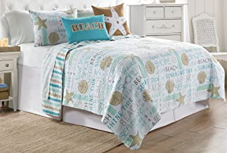Elise & James Home Seahorse Typography Quilt Set Full/Queen Blue