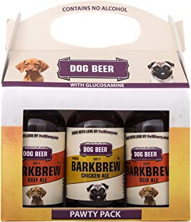 Pet Winery BarkBrew Pawty Pack - All-Natural Dog Beer (8 Ounce Bottles) (2 Beef Ale, 1 Chicken Ale, 3-Pack) Non-Alcoholic, Liquid Dog Treat   Use As Food Topper, Freeze, or As Is   Dog Birthday Treat