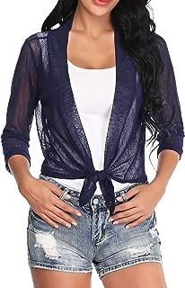 Aranmei Womens Sheer Shrug Cardigan Tie Front 3/4 Sleeve Bolero Jacket