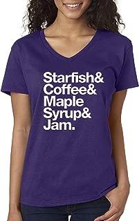 457 - Women's V-Neck T-Shirt Starfish Coffee Maple Syrup Jam